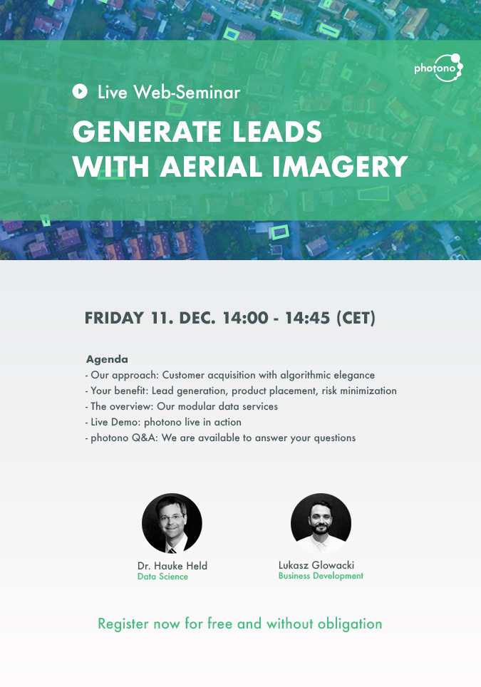 Information on the web-seminar: Generate leads with aerial imagery